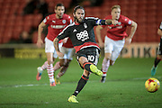 Henri Lansbury (Nottingham Forest) takes a penalty and scores to make it 5-2 to Nottingham Forest during the EFL Sky Bet Championship match between Barnsley and Nottingham Forest at Oakwell, Barnsley, England on 25 November 2016. Photo by Mark P Doherty.