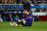 Barcelona forward Lionel Messi (10) appeals for but doesn't get a freekick during the Champions League semi-final leg 1 of 2 match between Barcelona and Liverpool at Camp Nou, Barcelona, Spain on 1 May 2019.