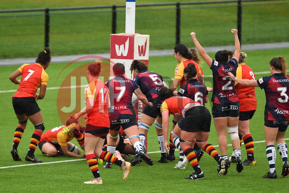 Row Marston of Bristol Bears Women scores a try against Richmond Women - Mandatory by-line: Paul Knight/JMP - 26/10/2019 - RUGBY - Shaftesbury Park - Bristol, England - Bristol Bears Women v Richmond Women - Tyrrells Premier 15s