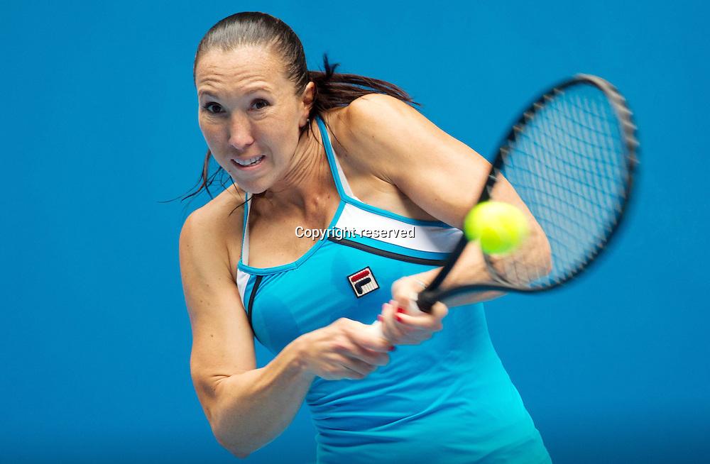 18.01.2013 Melbourne, Australia. Jelena Jankovic (Srb) in action during her 3rd round win over Jelena Jankovic.