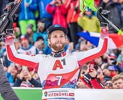 26.01.2020, Streif, Kitzbühel, AUT, FIS Weltcup Ski Alpin, Slalom, Herren, Siegerehrung, im Bild Marco Schwarz (AUT) // Marco Schwarz of Austria during the winner ceremony for the men's Slalom of FIS Ski Alpine World Cup at the Streif in Kitzbühel, Austria on 2020/01/26. EXPA Pictures © 2020, PhotoCredit: EXPA/ Stefan Adelsberger