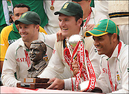 AB de Villiers, Graeme Smith and Ashwell Prince celebrate their series victory after the final day day of the fourth Test at the Oval on the 11th of August 2008..England v South Africa.Photo by Philip Brown.www.philipbrownphotos.com
