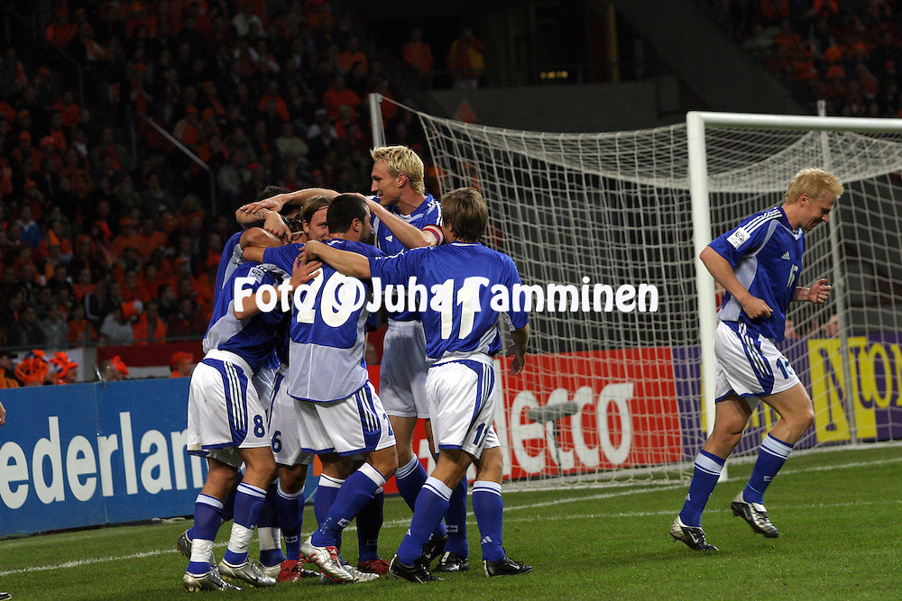 13.10.2004, Amsterdam ArenA, Amsterdam, Holland..FIFA World Cup 2006 Qualifying Match, .Holland v Finland..The Finns celebrate taking the lead..©Juha Tamminen.....ARK:k