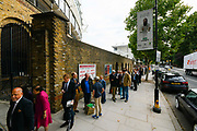 Long queues outside Lords ahead of the last day of the Ashes test match which is poised on a knife edge ahead the International Test Match 2019 match between England and Australia at Lord's Cricket Ground, St John's Wood, United Kingdom on 18 August 2019.