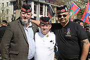 Scottish regiments join the demonstration in support of Soldier F by former service personnel in Central Manchester on 19 April 2019.