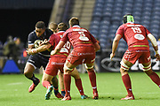 Man of the match Bill Mata under pressure during the Guinness Pro 14 2018_19 match between Edinburgh Rugby and Scarlets at BT Murrayfield Stadium, Edinburgh, Scotland on 2 November 2018.