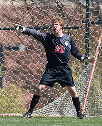 Virginia Cavaliers goalkeeper Matt Owen (22).  The North Carolina State Wolfpack defeated the Virginia Cavaliers 1-0 in NCAA Men's Soccer during a spring scrimmage at the Klockner Stadium practice field on the Grounds of the University of Virginia in Charlottesville, VA on April 4, 2009.