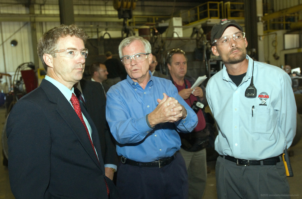 Republican candidate for the US Senate Rand Paul, left, tours Atlas Machine and Supply, Inc., with company president Rich Gimmel, center and welding supervisor Harold Morgan, right, following a news conference where he announced his support for the American Family Business Institute in Louisville, Kentucky, USA 21 October 2010. Paul used the occasion to sign the institute's Death Tax Repeal Pledge and committed to vote to repeal the estate tax. Paul will face Democratic candidate Jack Conway in the 02 November general election.