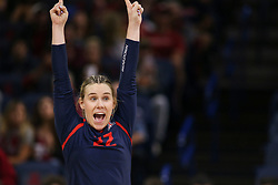 October 7, 2018 - Tucson, AZ, U.S. - TUCSON, AZ - OCTOBER 07: Arizona Wildcats libero / defensive specialist Makenna Martin (22) celebrates during a college volleyball game between the Arizona Wildcats and the Washington State Cougars on October 07, 2018, at McKale Center in Tucson, AZ. Washington State defeated Arizona 3-2. (Photo by Jacob Snow/Icon Sportswire) (Credit Image: © Jacob Snow/Icon SMI via ZUMA Press)