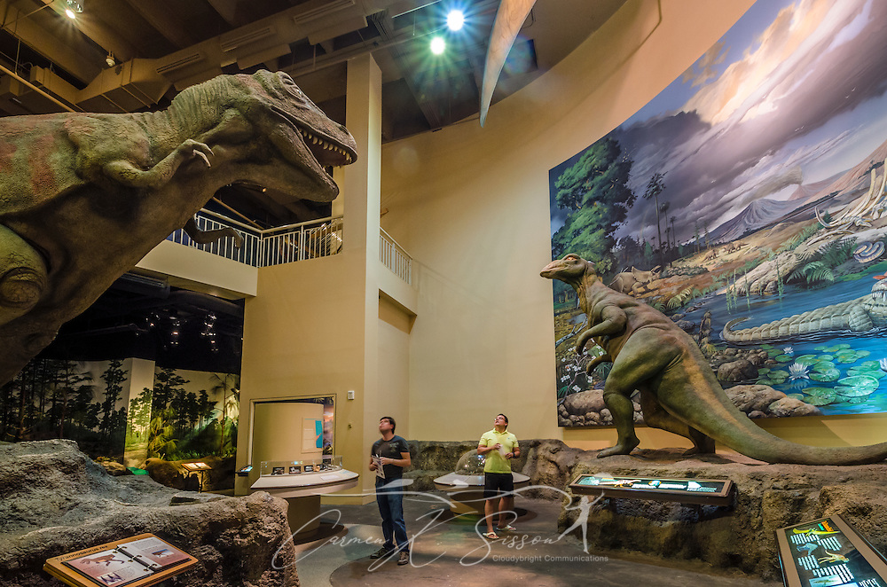 "From left, Vladimir Salgado and David Brado look at a dinosaur that is displayed in the dinosaur gallery at Fernbank Museum of Natural History, May 23, 2014, in Atlanta, Georgia. The museum opened in 1992 and is known for its massive dinosaur exhibitions. The museum also has an IMAX theater and holds popular public events like monthly salsa dance nights and the weekly ""Martinis & IMAX"" program. (Photo by Carmen K. Sisson/Cloudybright)"