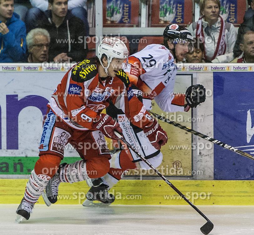 21.10.2012, Stadthalle, Klagenfurt, AUT, EBEL, EC KAC vs HC TWK Innsbruck, 14. Runde, im Bild Tylor Spurgeon (Kac, #9), Andreas Nödl (HC TWK, #29) // during the Erste Bank Icehockey League 14th Round match betweeen EC KAC and HC TWK Innsbruck at the City Hall, Klagenfurt, Austria on 2012/10/21. EXPA Pictures © 2012, PhotoCredit: EXPA/ Mag. Gert Steinthaler
