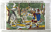 St Genevieve of Brabant, 8th century. Wife of palatine Siegfried. Accused of adultery, exposed in forest. 5 years later recognised by husband out hunting and innocence acknowledged. 19th century French coloured woodcut.