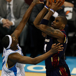 Mar 24, 2010; New Orleans, LA, USA; Cleveland Cavaliers forward Antawn Jamison (4) shoots over New Orleans Hornets forward James Posey (41)during the second half at the New Orleans Arena. The Cavaliers defeated the Hornets 105-92. Mandatory Credit: Derick E. Hingle-US PRESSWIRE