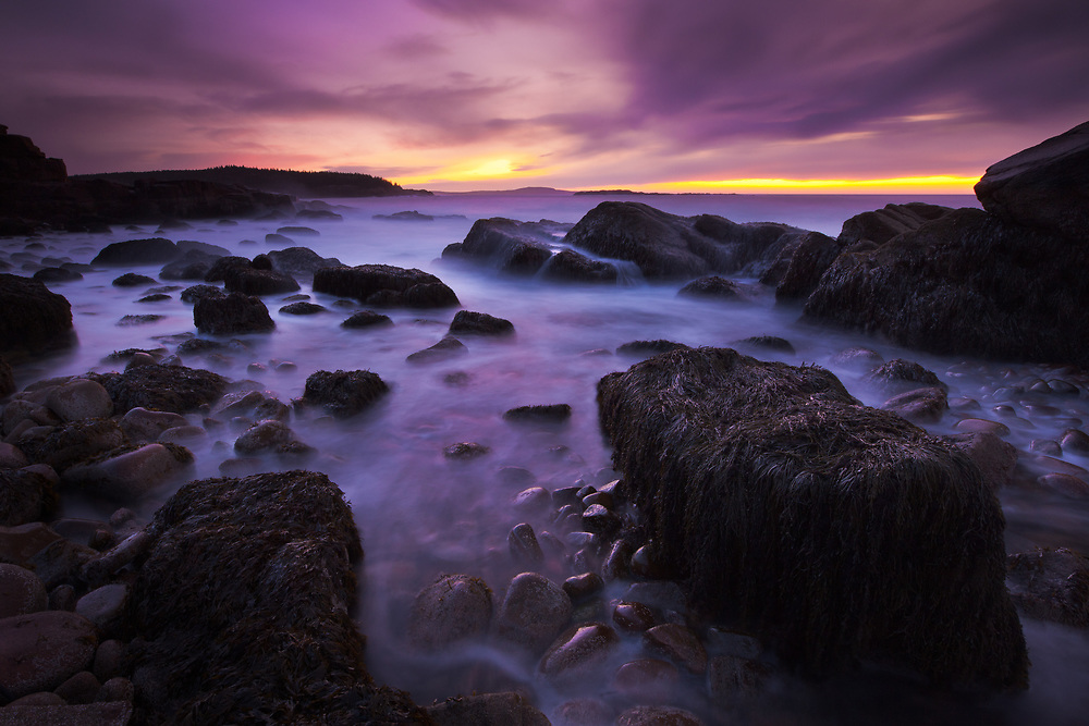 Long exposure at sunrise along the rocky coast of Acadia National Park in Maine. (3 stop reverse grad ND, polarizer)