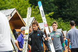 Robert Kranjec and Peter Prevc with their ski jumping skies during Ski Jumping Continental Cup in Kranj, Slovenia Photo by Grega Valancic / Sportida