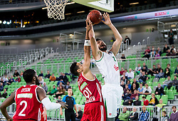 Isaac Rosefelt of Hapoel vs Nikola Jankovic #12 of KK Union Olimpija during basketball match between KK Union Olimpija Ljubljana (SLO) and Hapoel Jerusalem (ISR) in Round #4 of 7Days EuroCup 2016/17, on October 26, 2016 in Arena Stozice, Ljubljana, Slovenia. Photo by Vid Ponikvar / Sportida