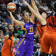 UNCASVILLE, CONNECTICUT- MAY 26:  Ana Dabovic #23 of the Los Angeles Sparks in action during the Los Angeles Sparks Vs Connecticut Sun, WNBA regular season game at Mohegan Sun Arena on May 26, 2016 in Uncasville, Connecticut. (Photo by Tim Clayton/Corbis via Getty Images)