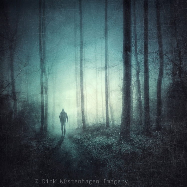 Spooky forest scenery with a solitary figure in the light figure