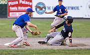 MIDDLETOWN, CT - 09 AUGUST 2010 -.East Longmeadow Post 293's Colin O'Neil tags out Branford Post 83's Casey Dadio as he slides to second base during Monday's American Legion Northeast Regional Tournament Championship game at Palmer Field in Middletown. East Longmeadow lost, 2-1..Photo by Josalee Thrift