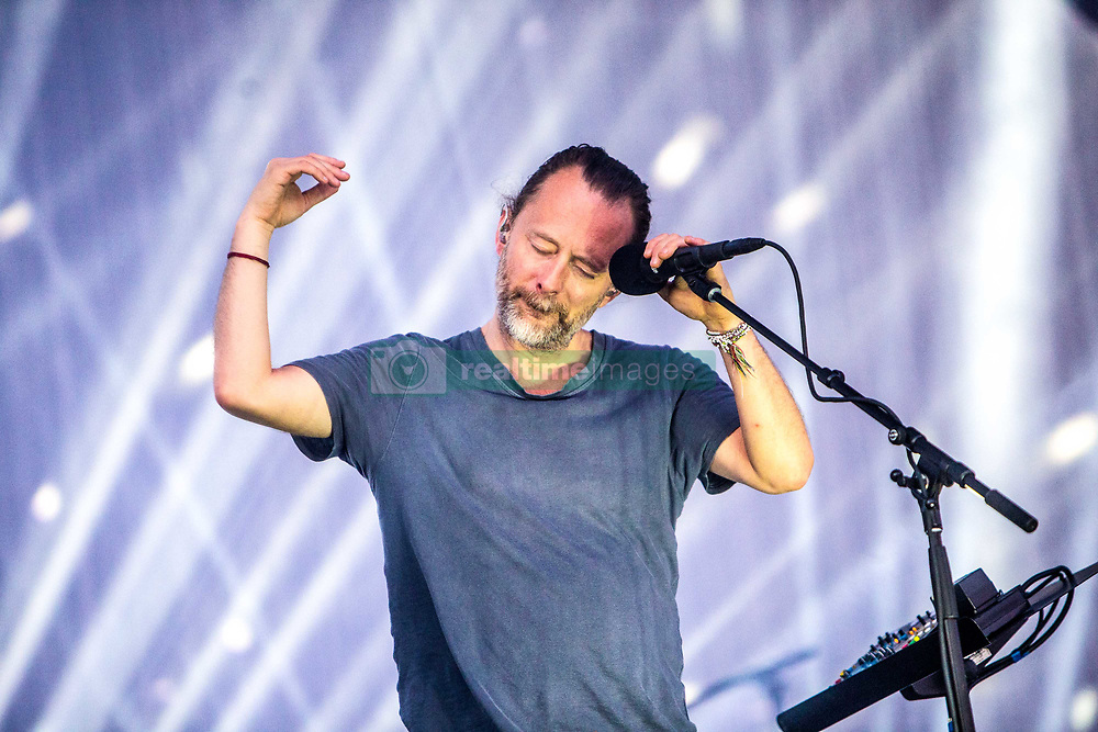 June 16, 2017 - Milan, Italy - Radiohead live at I-Days festival in Monza. Radiohead is an English rock band from Abingdon, Oxfordshire, formed in 1985. The band consists of Thom Yorke, Jonny Greenwood, Ed O'Brien, Colin Greenwood, and Phil Selway. (Credit Image: © Mairo Cinquetti/Pacific Press via ZUMA Wire)