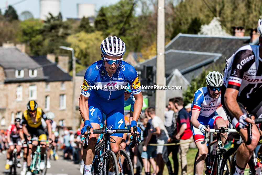 Julian ALAPHILIPPE of Quick-Step Floors on his Specialized bike during the 2nd of 3 climbs with 29 km to go at Mur de Huy of the 2018 La Flèche Wallonne race, Huy, Belgium, 18 April 2018, Photo by Pim Nijland / PelotonPhotos.com | All photos usage must carry mandatory copyright credit (Peloton Photos | Pim Nijland)
