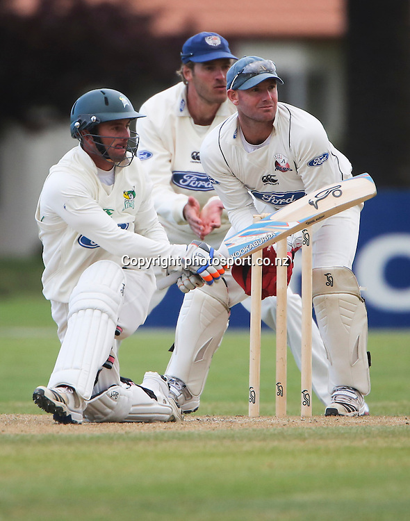 Stag's Kruger van Wyk plays a shot in the Plunket Shield cricket match between the Central Districts Stags and the Auckland Aces at Nelson Park, Napier,  New Zealand. Wednesday, 07 November, 2012. Photo: John Cowpland / photosport.co.nz