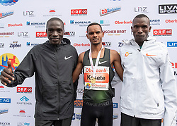 14.04.2019, Linz, AUT, Oberbank Linz Donau Marathon, am Sonntag, 14. April 2019, während des Linz Donau Marathon, in Linz, im Bild v.l. 2. Platz Felix Chemonges (UGA), Merhawi Kesete (ERI) Marathon Sieger, 3. Platz Nicholas Rotich (KEN) // during the Oberbank Linz Donau Marathon in Linz, Austria on 2019/04/14. EXPA Pictures © 2019, PhotoCredit: EXPA/ Reinhard Eisenbauer