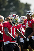 San Francisco 49ers wide receiver Marquise Goodwin (11) dances during the San Francisco 49ers training camp held at their practice facility in Santa Clara, California, on August 17, 2017. (Stan Olszewski/Special to S.F. Examiner)