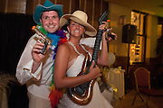Aubrey and Andy celebrate their Hawaiian wedding ceremony at a Chicago reception.