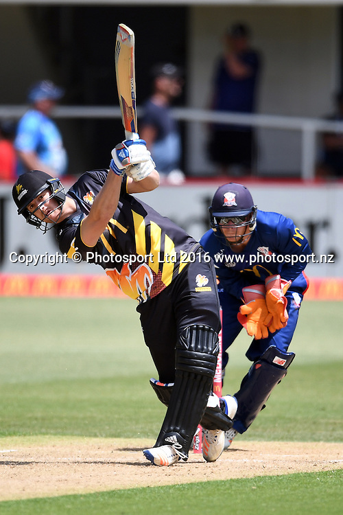 Wellington Firebirds' Michael Pollard in action during the McDonald's Super Smash, Auckland Aces vs Wellington Firebirds, Eden Park No.2, Auckland, Saturday 24th December 2016. Copyright Photo: Raghavan Venugopal / www.photosport.nz