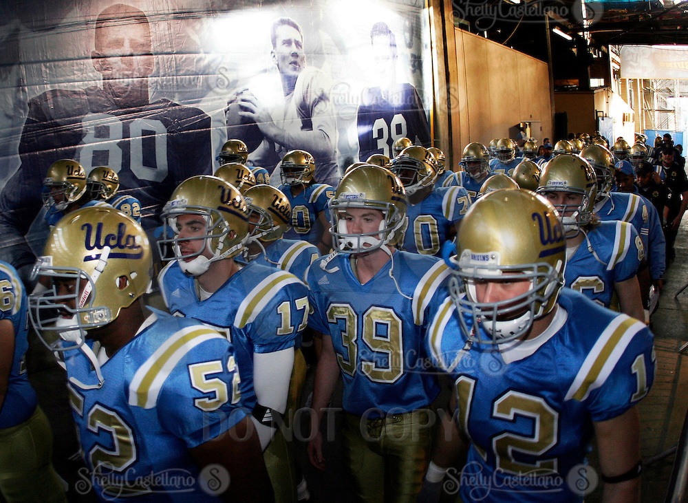 11 November 2006:  #39 Danny Rees and teammates walk out of the Rose Bowl Tunnel for the start of the UCLA Bruins 25-7 win over the Oregon State Beavers Pac-10 college football game at the Rose Bowl.<br />