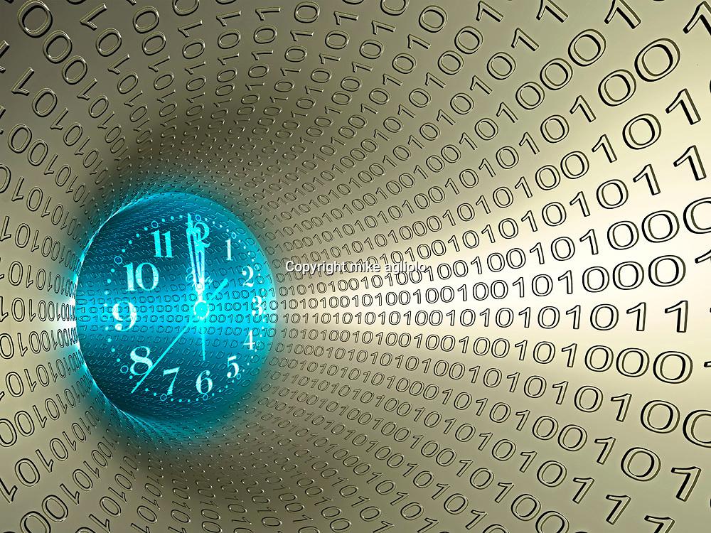 clock in digital vortex