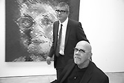 Jay Jopling and Chuck Close CHUCK CLOSE OPENING. White Cube. MASON'S YARD. LONDON. 9 October 2007. -DO NOT ARCHIVE-© Copyright Photograph by Dafydd Jones. 248 Clapham Rd. London SW9 0PZ. Tel 0207 820 0771. www.dafjones.com.