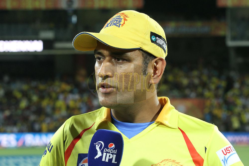 Chennai Super Kings Captain MS Dhoni during match 43 of the Pepsi IPL 2015 (Indian Premier League) between The Chennai Super Kings and The Mumbai Indians held at the M. A. Chidambaram Stadium, Chennai Stadium in Chennai, India on the 8th May April 2015.<br /> <br /> Photo by:  Shaun Roy / SPORTZPICS / IPL
