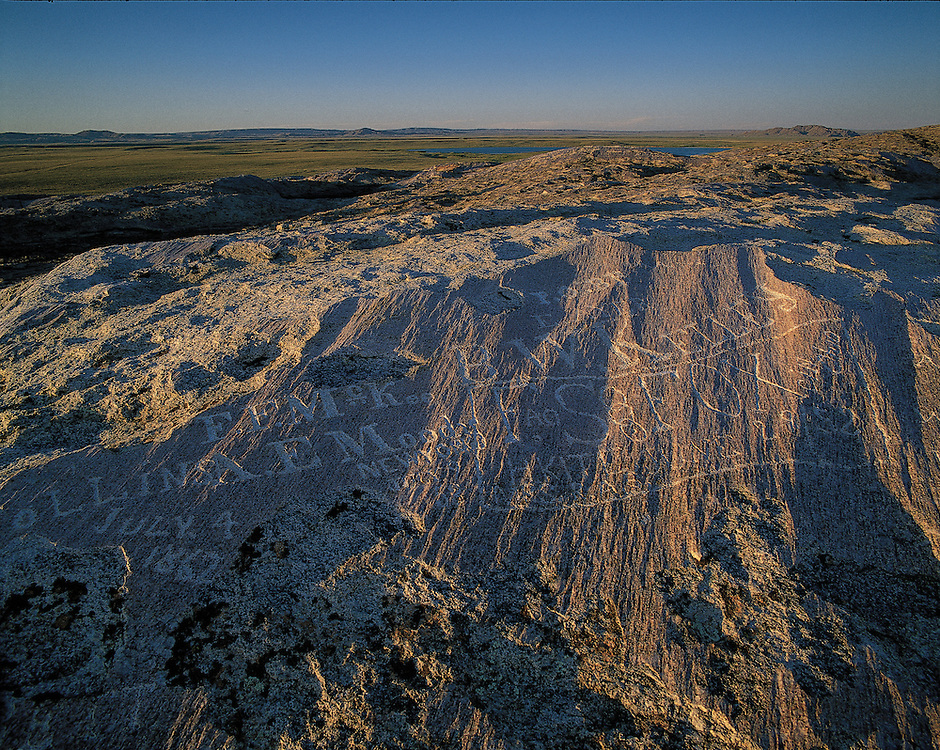 """Wyoming. Independence Rock State Historic Site, """"The Great Register of the Desert."""" Oregon Trail"""