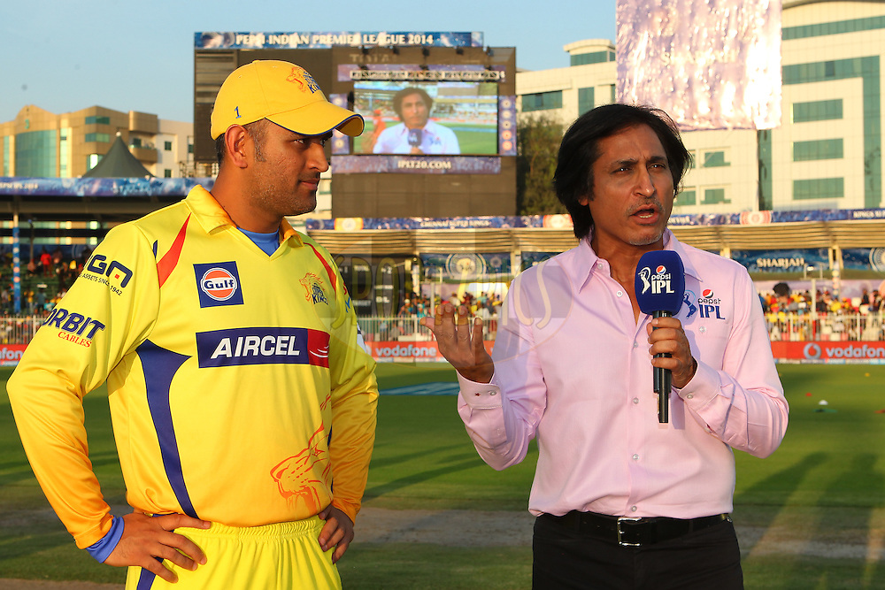 MS Dhoni captain of The Chennai Superkings  is interviewed before the toss during match 17 of the Pepsi Indian Premier League 2014 between the Sunrisers Hyderabad and the Chennai Superkings held at the Sharjah Cricket Stadium, Sharjah, United Arab Emirates on the 27th April 2014<br /> <br /> Photo by Ron Gaunt / IPL / SPORTZPICS