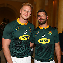 Jean-Luc du Preez with Willie le Roux of South Africa during the South African Springbok team photo, <br /> at the The Cullinan Hotel in Cape Town.South Africa. 22,06,2018 22,06,2018 Photo by (Steve Haag JMP)