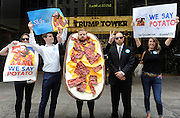 Loaded Potato Skin, the iconic appetizer from TGI Fridays, announces his candidacy for President of the United States in front of Trump Tower, Tuesday, July 21, 2015 in New York.  Mr. Potato Skin is the 16th candidate in an already crowded field, and while not affiliated with any political party, he knows how to party and is prepared to prove it.  Mr. Potato Skin encourages supporters to visit www.skin4president.com and use #PotatoPOTUS and #PotatoInChief in social conversations.  (Photo by Diane Bondareff/Invision for TGI Fridays/AP Images)