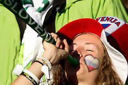 Slovenian fan during the 2010 FIFA World Cup South Africa Group C match between Slovenia and USA at Ellis Park Stadium on June 18, 2010 in Johannesberg, South Africa. (Photo by Vid Ponikvar / Sportida)