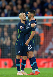 LIVERPOOL, ENGLAND - Sunday, October 7, 2018: Manchester City's David Silva (L) consoles Riyad Mahrez after he missed a penalty during the FA Premier League match between Liverpool FC and Manchester City FC at Anfield. (Pic by David Rawcliffe/Propaganda)