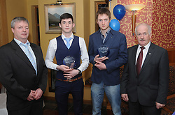 Westport GAA Club dinner dance, Darragh Gallagher and Shane Geraghty accecpted awards in recognition of their achievements with Mayo Hurling U21's All Ireland finalists, from Declan Gallagher and John Hopkins Chairman Mayo Hurling Board.<br />