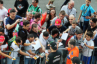 Sergio Perez (MEX) Sahara Force India F1 signs autographs for the fans.<br /> Italian Grand Prix, Thursday 4th September 2014. Monza Italy.