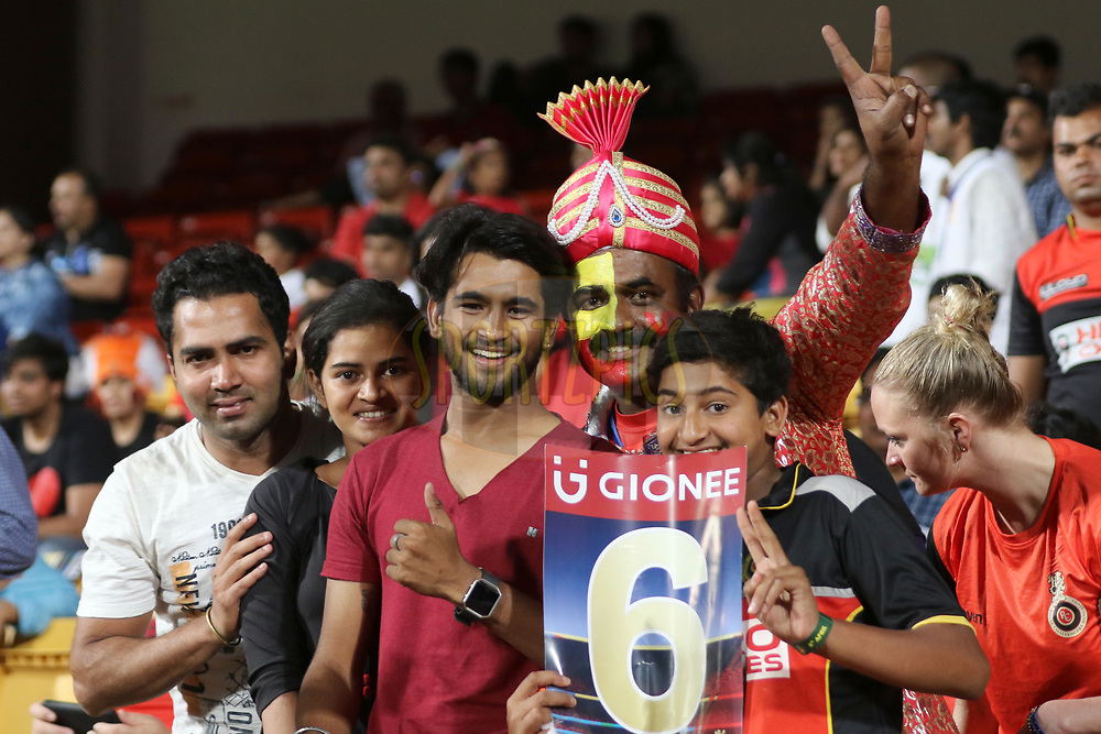 Royal Challengers Bangalore supporters during match 5 of the Vivo 2017 Indian Premier League between the Royal Challengers Bangalore and the Delhi Daredevils held at the M.Chinnaswamy Stadium in Bangalore, India on the 8th April 2017<br /> <br /> Photo by Faheem Hussain - IPL - Sportzpics