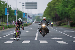 Attack by Eugenia Bujak. The BTC City Ljubljana stays clear for around 15 kilometres - Tour of Chongming Island 2016 - Stage 3. A 99 km road race on Chongming Island, China on May 8th 2016.