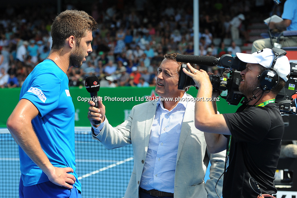 Czech player Jiri Vesley is interviewed by SKY Sports Stephen McIvor after his Quarter Finals singles match win over Donald Young of the USA at the Heineken Open. ASB Tennis Centre, Auckland, New Zealand. Thursday 15 January 2015. Copyright photo: Chris Symes/www.photosport.co.nz