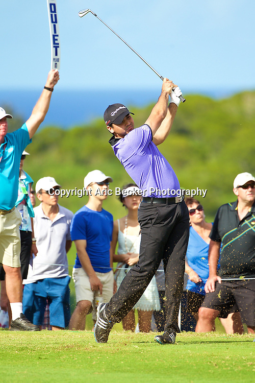 January 09 2015:  Jason Day tees off on fourteen during the First Round of the Hyundai Tournament of Champions at Kapalua Plantation Course on Maui, HI.