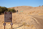 Mountain Biker Riding Downhill on Trail at Aliso and Wood Canyons Wilderness Park