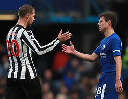 Chelsea's Cesar Azpilicueta (right) and Newcastle United's Florian Lejeune shake hands after the game
