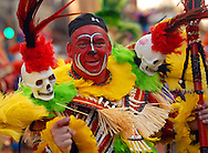 PHILADELPHIA - JANUARY 6:  Members of the Greater Overbrook String Band perform during the 2007 Mummers Parade January 6, 2007 in Philadelphia, Pennsylvania. Thousands came to watch the Mummers Parade, which was postponed from New Years Day due to rain. Temperatures in the Philadelphia region were record highs in the low 70's. (Photo by William Thomas Cain/Getty Images)