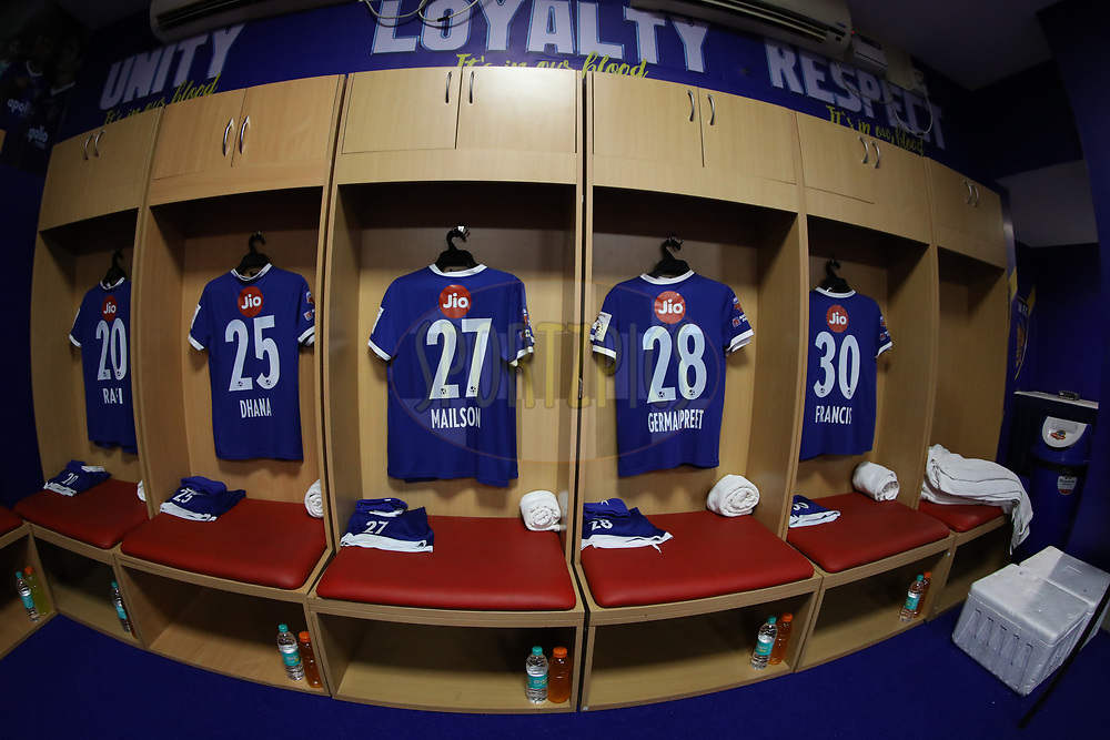 General view of Chennaiyin FC dressing room during match 6 of the Hero Indian Super League between Chennaiyin FC and NorthEast United FC held at the Jawaharlal Nehru Stadium, Chennai India on the 23rd November 2017<br /> <br /> Photo by: Arjun Singh  / ISL / SPORTZPICS